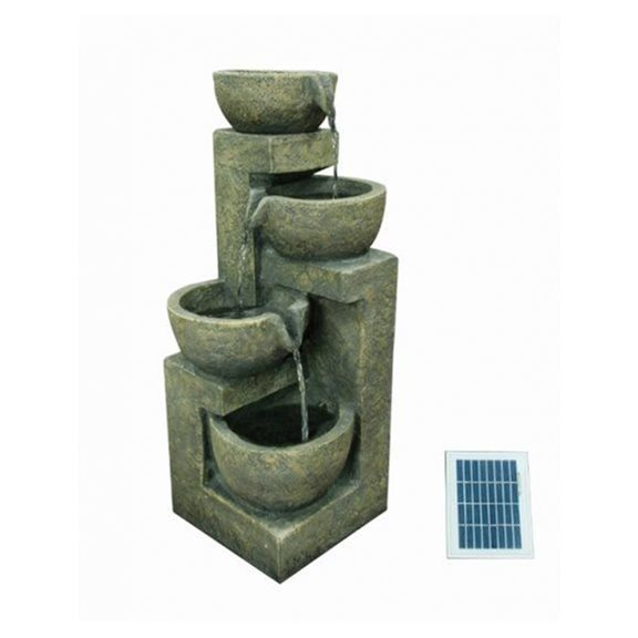 Solar Powered 4 Bowl Water Feature with Battery Back Up
