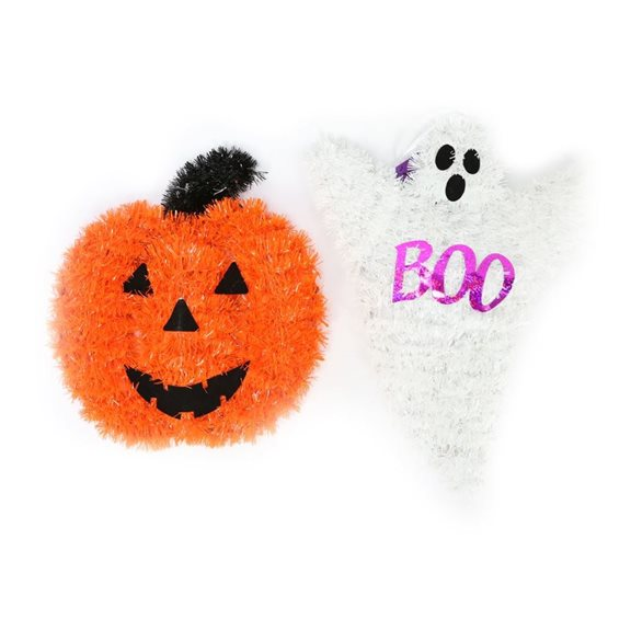 Pumpkin and Ghost Tinsel Wall Plaques (Pack of 2) Halloween Decoration
