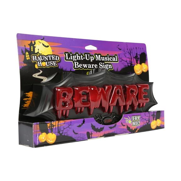 'Beware' Light Up Musical Halloween Horror Plaque Decoration