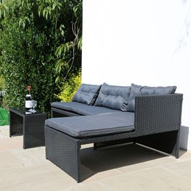 3 Piece Black Rattan Lounge Furniture Set with Coffee Table