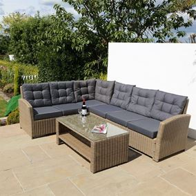 6 Seater Luxury Brown Rattan Garden Furniture Set with Cushions