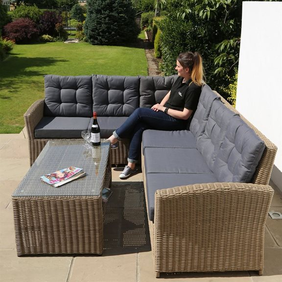 additional image for 6 Seater Luxury Brown Rattan Garden Furniture Set with Cushions