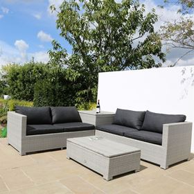 4 Seater Rattan Sofa Set with Side Table and Storage Boxes