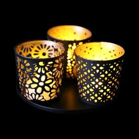 Metal Tealight Holder Set with Tray (3 Pack)