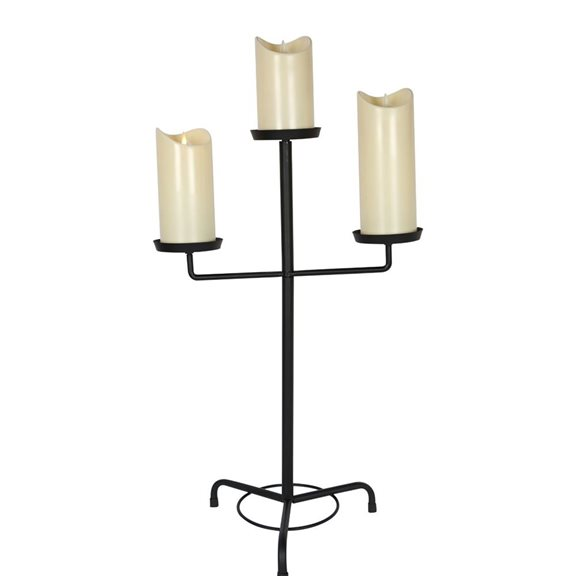 3 Tier Metal Candle Stand Candelabra with 3 Flickering Candles Halloween Decoration