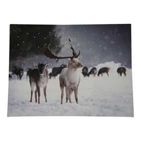 Winter Snowy Reindeer Scene Canvas with Battery Operated LEDs