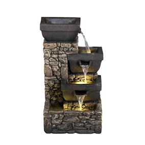 3 Bowls on Stone Wall Solar Powered Water Feature