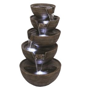Stacked Pouring Brown Bowls Water Feature