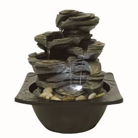 Matera Pouring Rockfall LED Lit Indoor Water Feature