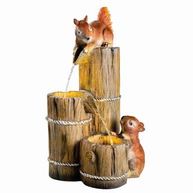 Squirrels at Wooden Barrels Water Feature