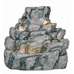 Large Wide Rock Boulder Lit Water Feature