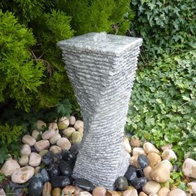 60cm Grey Granite Twist Fountain Water Feature Kit with LED Lights