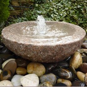 50cm Granite Babbling Bowl Pink Water Feature Kit