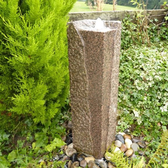 Granite Rustic Red Column Water Feature Kit