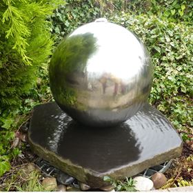 40cm Basalt Slab with Stainless Steel Sphere Water Feature Kit