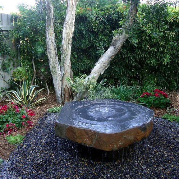 Dished Top Babbling Basalt Fountain Water Feature Kit