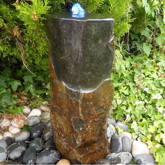 Polished Top Basalt Fountain Water Feature Kit with Lights