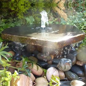 40cm Basalt Slab with Plinth Water Feature Kit with Lights