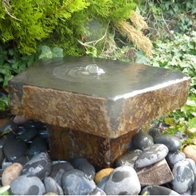 Basalt Babbling Fountain on Plinth Water Feature Kit