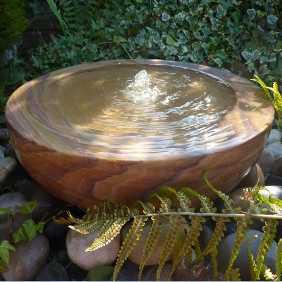 additional image for Large Rainbow Sandstone Babbling Bowl Water Feature Kit