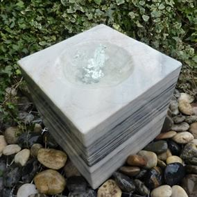 30cm Polished Black and White Marble Babbling Cube Water Feature Kit with Lights