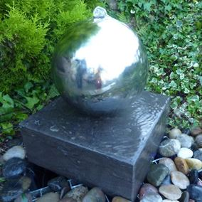 38cm Black Polished Limestone Cube with Stainless Steel Sphere Water Feature Kit