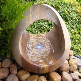 Rainbow Babbling Basket Water Feature Kit With LED Lights