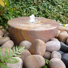 38cm Rainbow Sandstone Mill Wheel Water Feature Kit With LED Lights