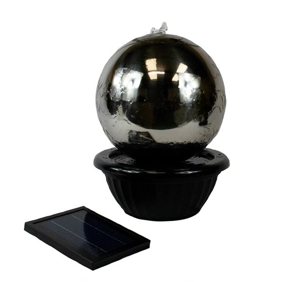additional image for 30cm Solar Powered Stainless Steel Sphere Water Feature