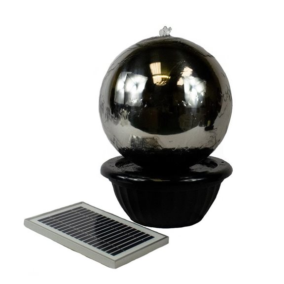 additional image for 40cm Solar Powered Stainless Steel Sphere Water Feature