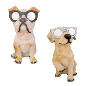 Cute Dog with Sunglasses Solar Ornament Garden Light