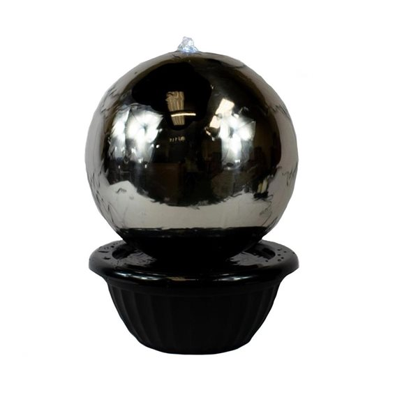 additional image for 30cm Sphere Stainless Steel Water Feature with LED Lights