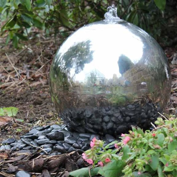 40cm Solar Powered Stainless Steel Sphere Water Feature