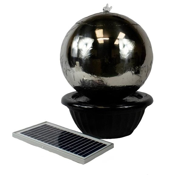additional image for 60cm Solar Powered Stainless Steel Sphere Water Feature