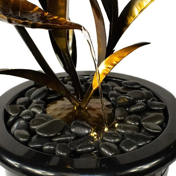 additional image for Copper Effect Leaf Solar Powered Water Feature