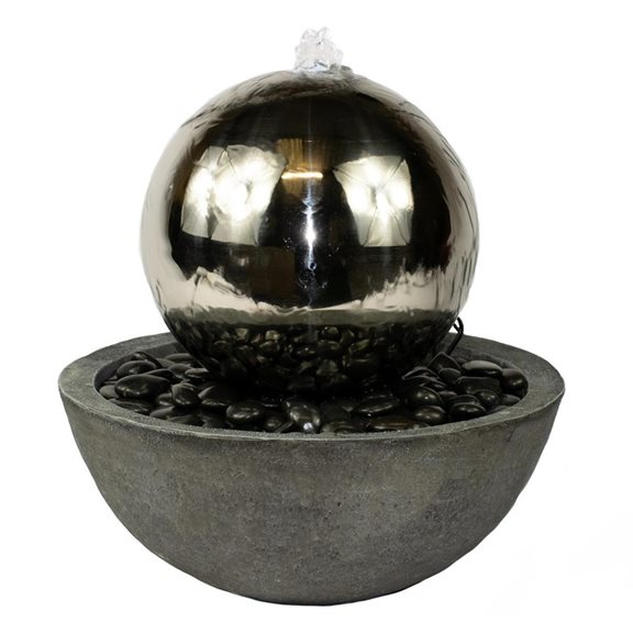 additional image for Corona Stainless Steel Sphere Water Feature