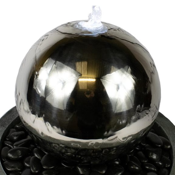 additional image for Stainless Steel Sphere in Bowl Water Feature with LED Lights