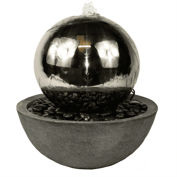 additional image for 50cm Stainless Steel Sphere & Resin Bowl Water Feature with LED's