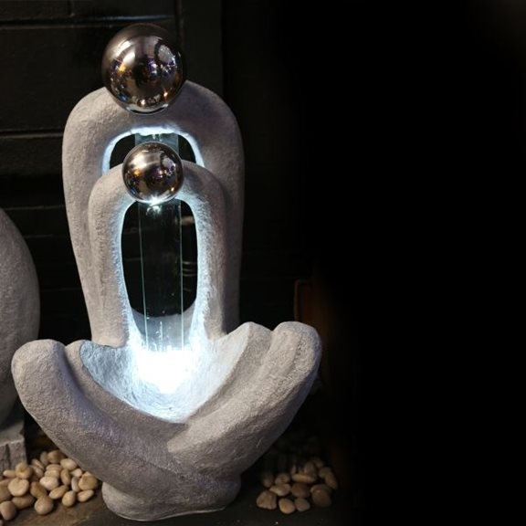 additional image for Meditating Couple Water Feature with LED Lights