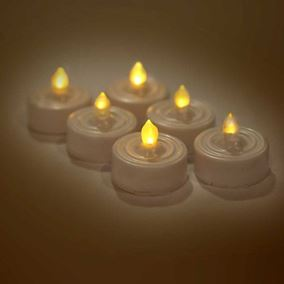Set of 6 Flickering LED Tea Lights (Battery Powered)