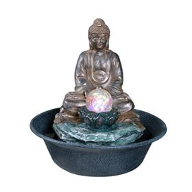 Buddha with LED Crystal Ball Table Top Water Feature
