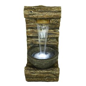 Burlington Log Falls Pouring LED Lit Water Feature