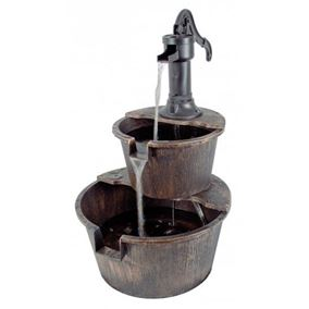 2 Tier Barrel Water Feature with Traditional Hand Pump