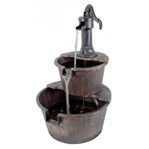 UK Water Features 2 Tier Barrel Water Feature with Traditional Hand Pump
