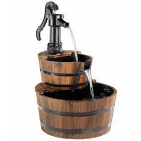 2 Tier Wooden Barrel Solar Powered Water Feature with Cast Iron Pump