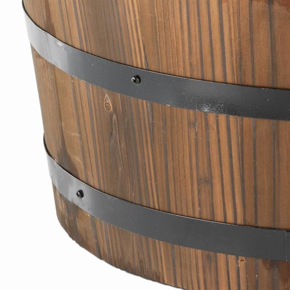 additional image for 2 Tier Wooden Barrel Solar Powered Water Feature with Cast Iron Pump