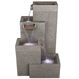 Rectangular Grey Pillars Water Feature