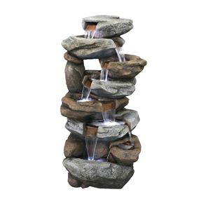 Oklahoma Giant Rock Falls Water Feature with LED Lights
