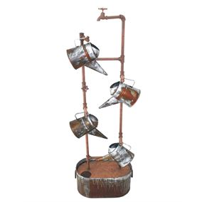 Metal Tap & Watering Cans Water Feature