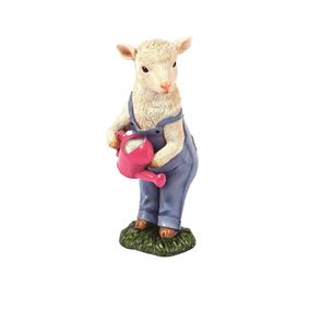 Cute Lamb Watering with Pink Can Garden Ornament